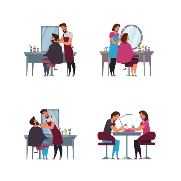 barber shop, hairdressing room flat illustration - hairdresser stock illustrations