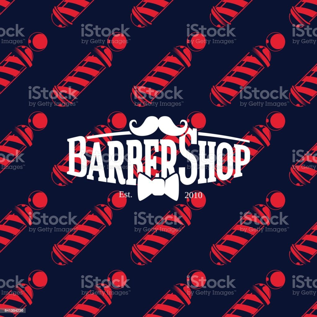 Barber shop icon on seamless pattern with barber poles, vector illustration vector art illustration