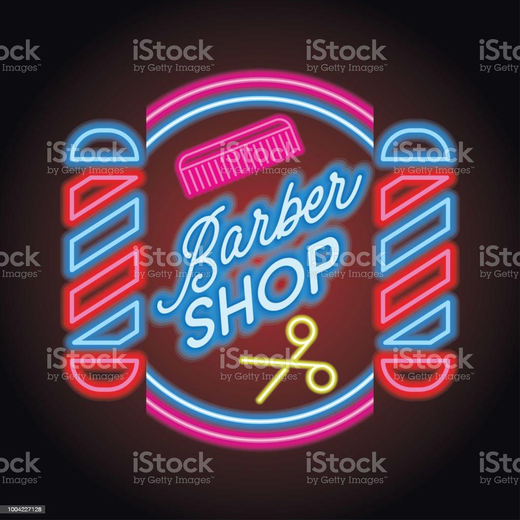 ícone de loja de barbeiro com espaço de texto para seu slogan / slogan - ilustração de arte em vetor