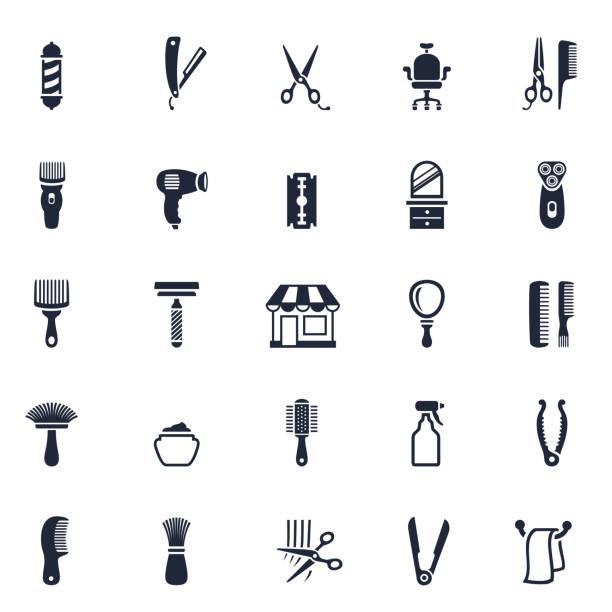 バーバーショップアイコン - 床屋点のイラスト素材/クリップアート素材/マンガ素材/アイコン素材