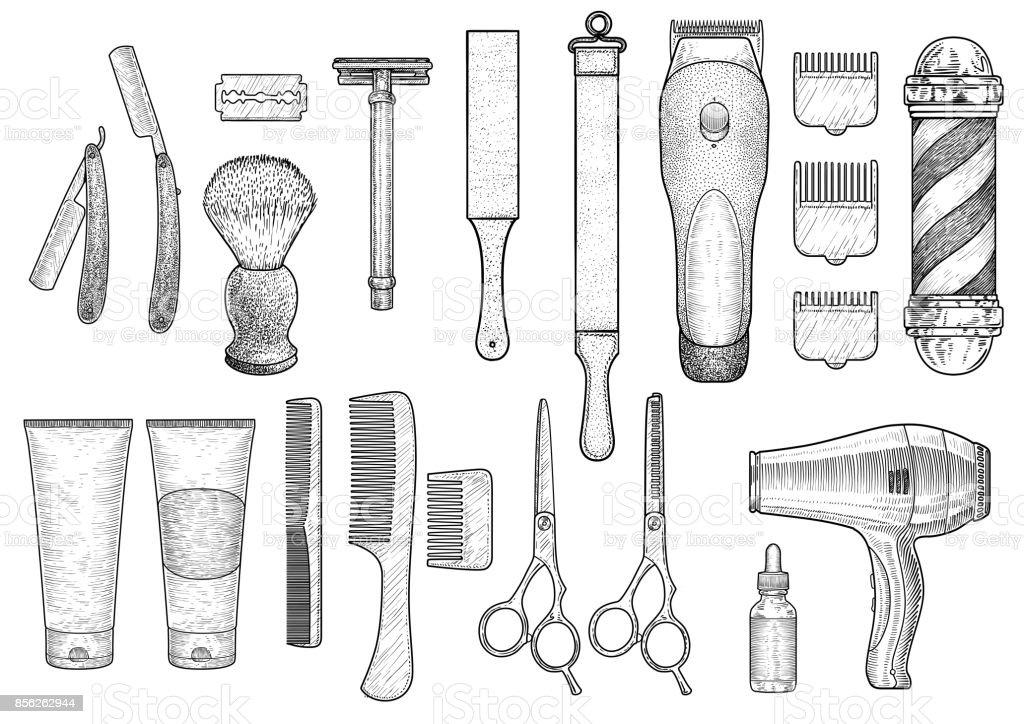 Barber shop illustration, drawing, engraving, ink, line art, vector vector art illustration