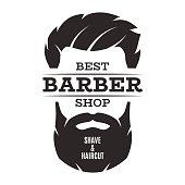 Barber shop isolated vintage label badge emblem. Vector illustration.
