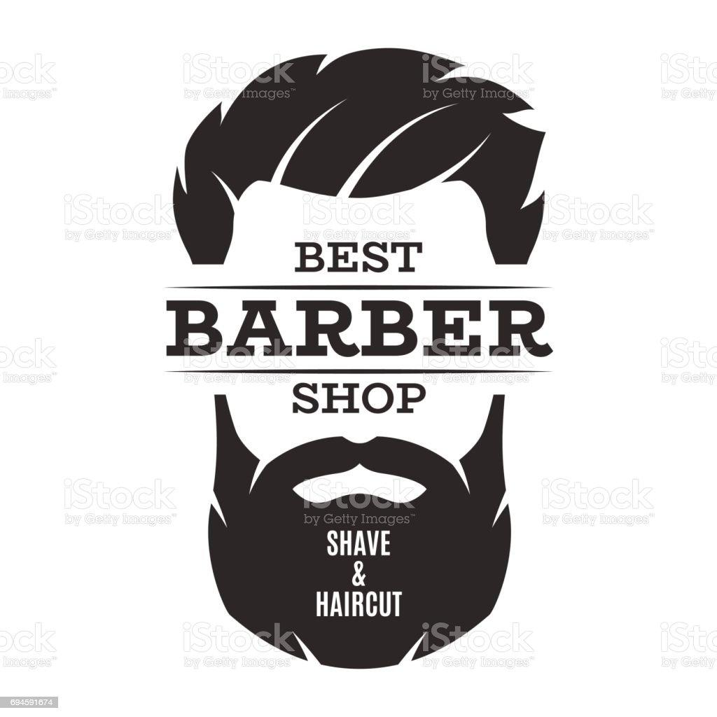 Barbearia isolado emblema distintivo de rótulo vintage. - ilustração de arte em vetor