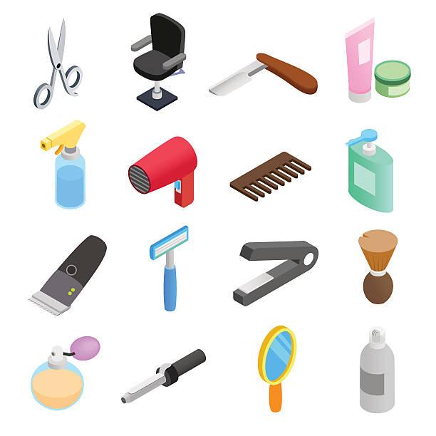 バーバーショップアイソメトリック 3 d アイコン - 美容室 3d点のイラスト素材/クリップアート素材/マンガ素材/アイコン素材
