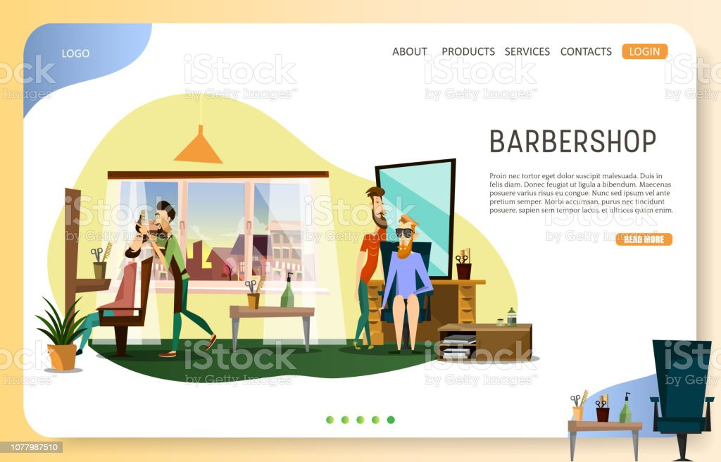 Modelo de vetor Web site página de aterragem de barbearia - ilustração de arte em vetor