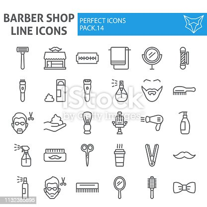 Barber shop line icon set, hairstyle symbols collection, vector sketches, logo illustrations, hair care signs linear pictograms package isolated on white background, eps 10.