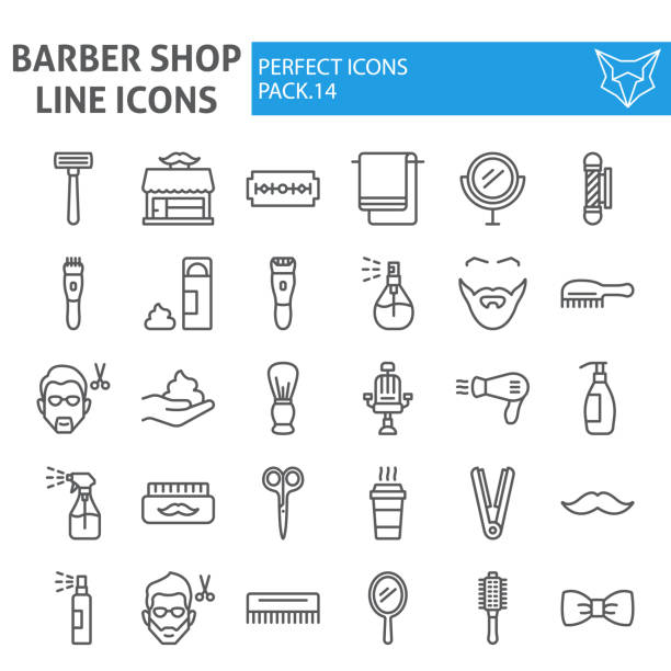 Barber shop line icon set, hairstyle symbols collection, vector sketches, logo illustrations, hair care signs linear pictograms package isolated on white background. Barber shop line icon set, hairstyle symbols collection, vector sketches, logo illustrations, hair care signs linear pictograms package isolated on white background, eps 10. blade stock illustrations