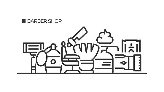 Barber Shop Line Icons