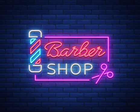 Barber shop logo neon sign, logo design elements. Can be used as a header or template for logos, labels, cards. Neon Signboard, Bright Lighting Advertising Hairdressing. Vector illustration