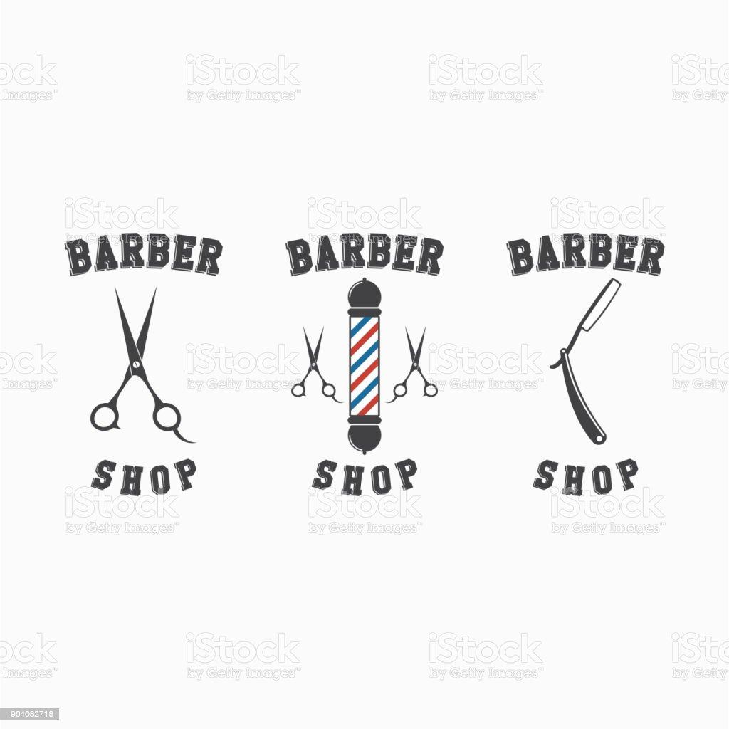 Barber Shop Logo Set Vector Template Design - Royalty-free Arts Culture and Entertainment stock vector