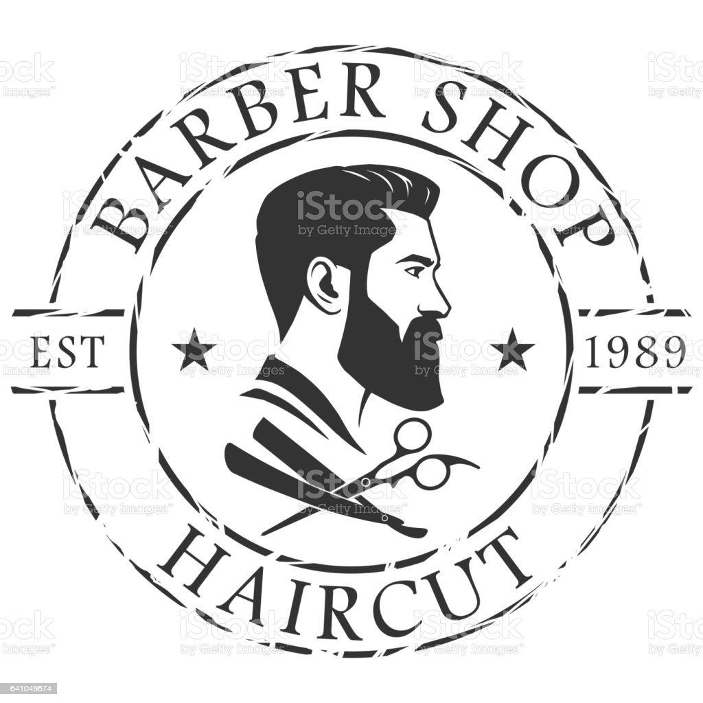 Barber shop logo template vector art illustration
