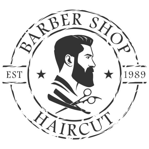 Barber shop logo template vector art illustration