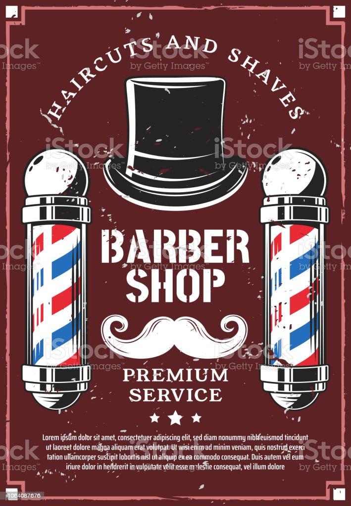 Bigodes de loja de barbeiro e chapéu retrô cavalheiro - ilustração de arte em vetor