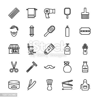 25 Collection of barber shop line icon