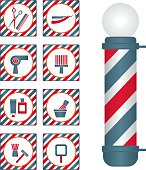 Barber shop pole and related icons set.