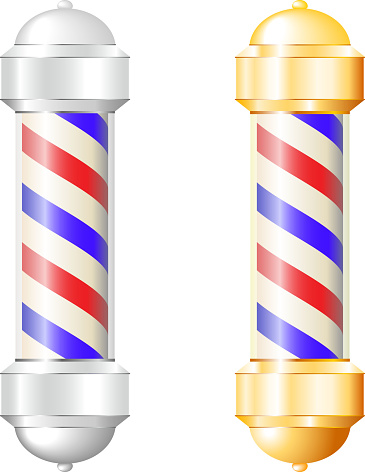 Barber shop pole in metalic silver and brass gold