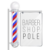 Barber Shop Pole Vector. Good For Design, Branding, Advertising. Space For Your Advertising. Isolated On White Background Illustration