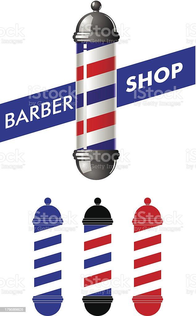 Barber shop pole vector art illustration
