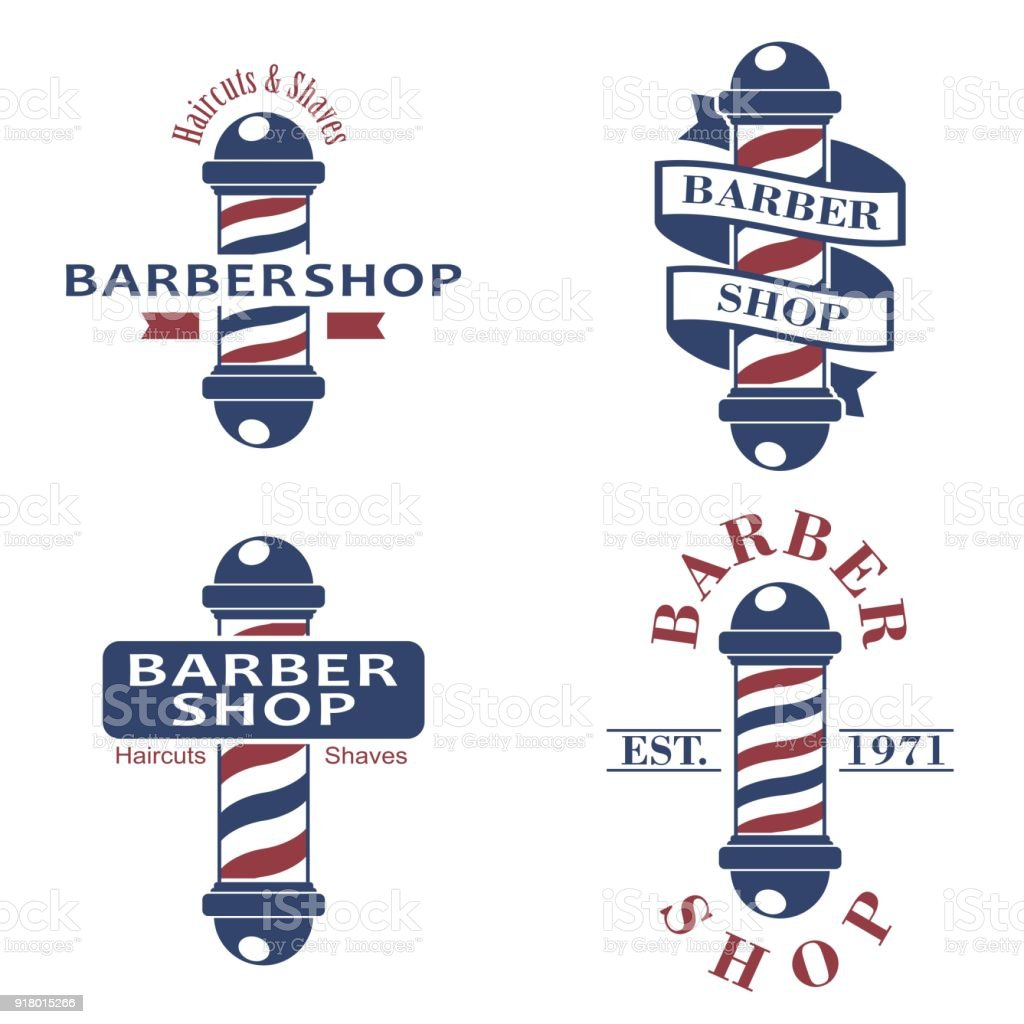 Barber shop poles set. Hairdressing saloon icons isolated on white background. Barbershop sign and symbol. Design elements collection for logo, labels, emblems. Vector Illustration vector art illustration