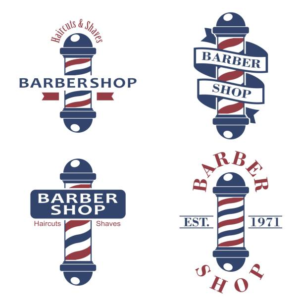 Barber shop poles set. Hairdressing saloon icons isolated on white background. Barbershop sign and symbol. Design elements collection for logo, labels, emblems. Vector Illustration vector art illustration