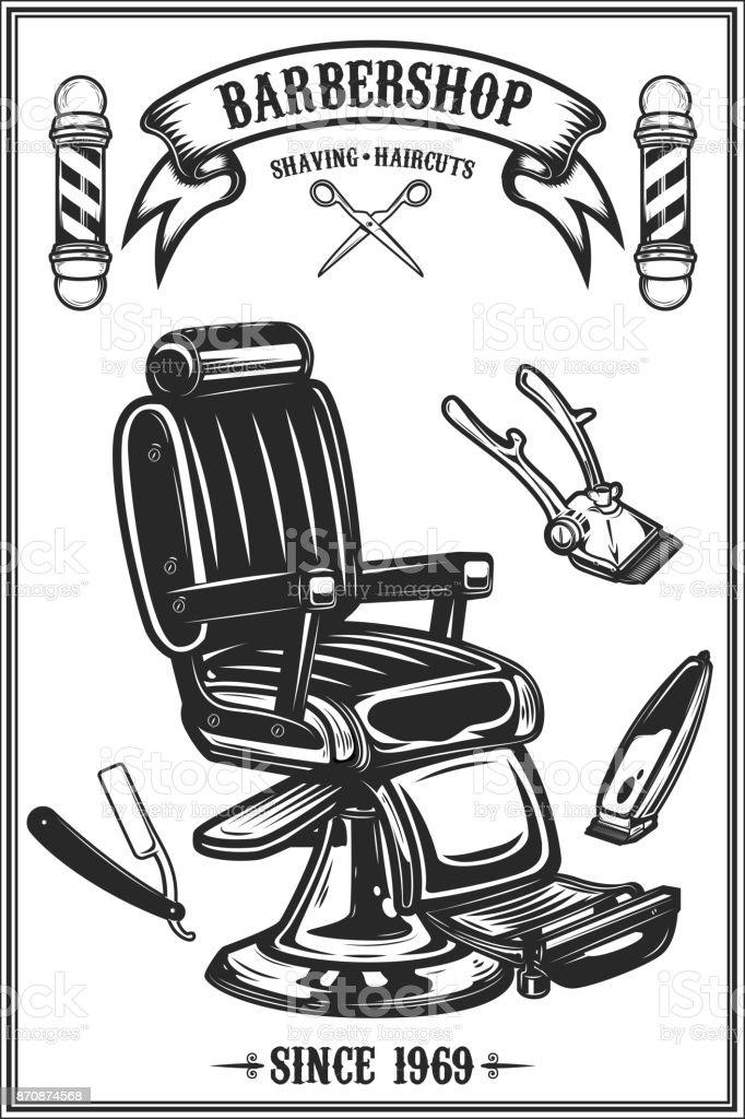 Modelo de cartaz de loja de barbeiro. Cadeira de barbeiro e ferramentas sobre fundo grunge. Desenha o elemento para o emblema, sinal, cartaz, cartão, banner. Ilustração vetorial - ilustração de arte em vetor