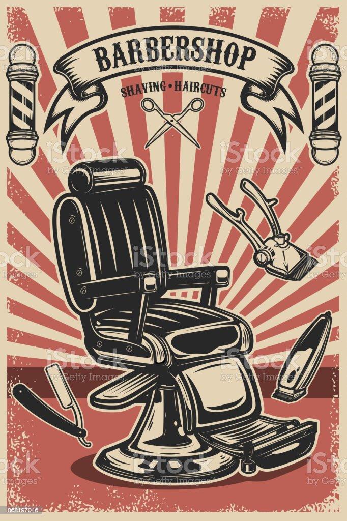 Modelo de cartaz de loja de barbeiro. Cadeira de barbeiro e ferramentas sobre fundo grunge - ilustração de arte em vetor