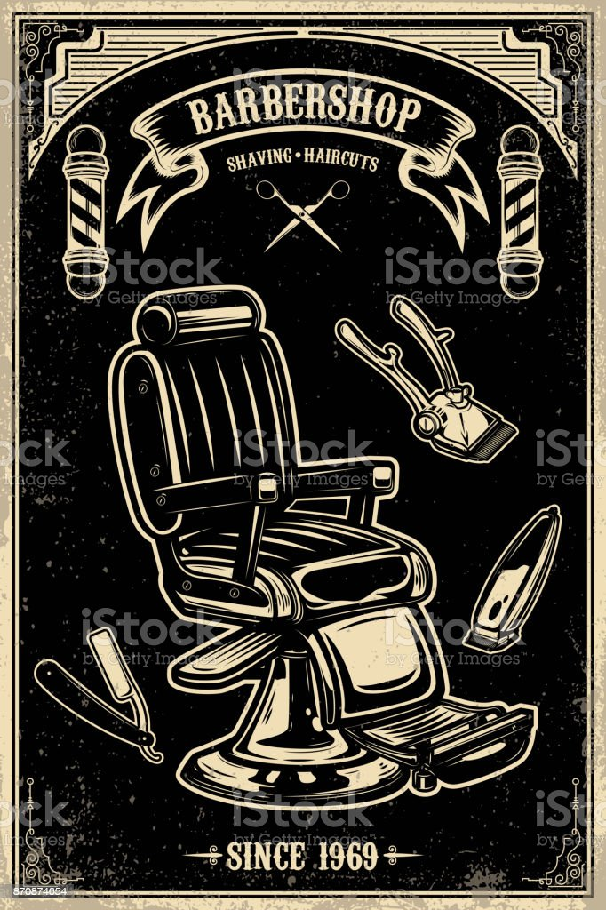 Barber shop poster template. Barber chair and tools on grunge background. vector art illustration