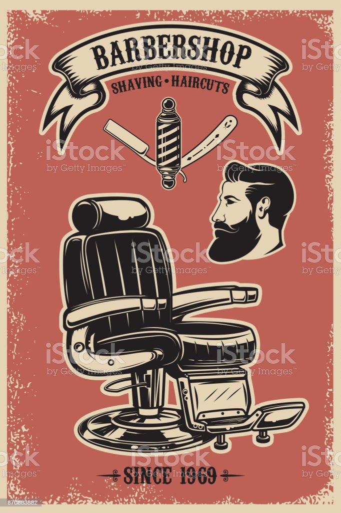 Modelo de cartaz de loja de barbeiro. Cadeira de barbeiro e ferramentas sobre fundo grunge. - ilustração de arte em vetor