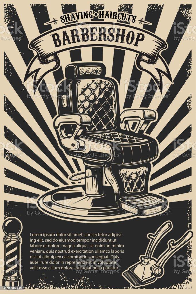 Plantilla cartel de tienda del peluquero. Silla de peluquero y herramientas sobre fondo grunge. - ilustración de arte vectorial