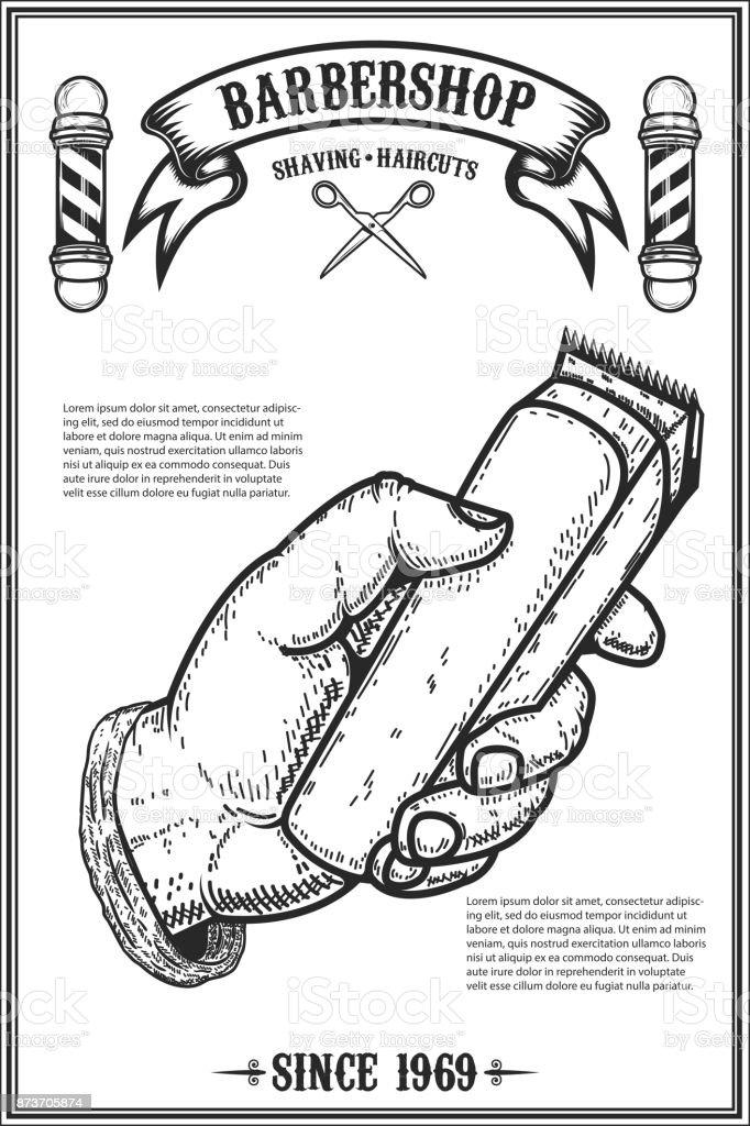 modelo de cartaz do barbeiro loja. Mão humana com o aparador de cabelo. Elemento de design para o cartão, banner, panfleto. Ilustração vetorial - ilustração de arte em vetor