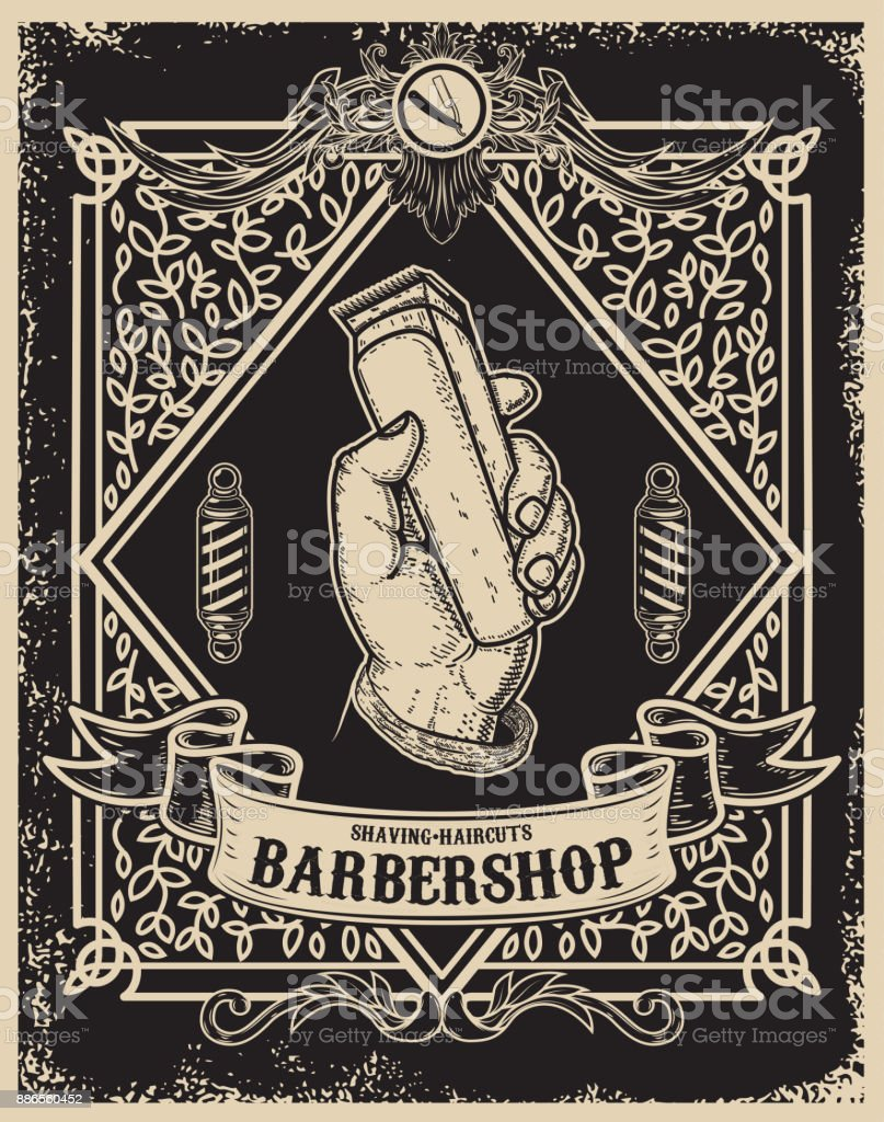 barber shop poster template. Human hand with hair clipper. Design element for card, banner, flyer. Vector illustration vector art illustration