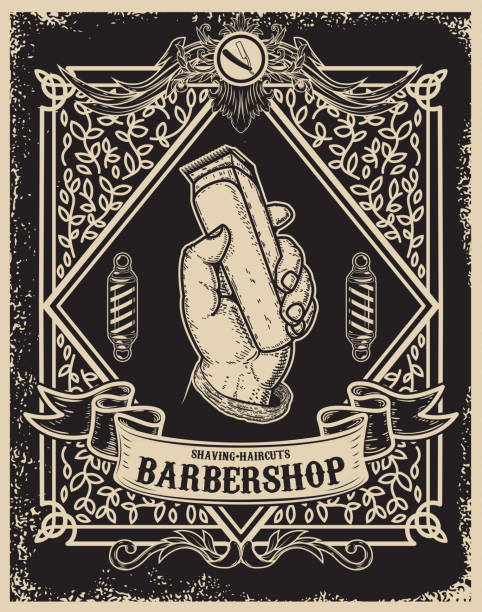 barber shop poster template. Human hand with hair clipper. Design element for card, banner, flyer. Vector illustration vector art illustration