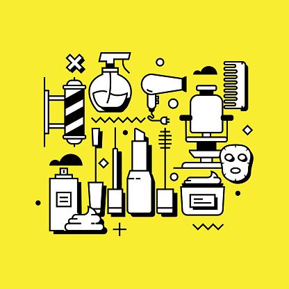 Barber Shop Related Line Design Style Web Banner
