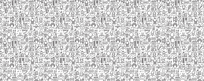 Barber Shop Related Seamless Pattern and Background with Line Icons