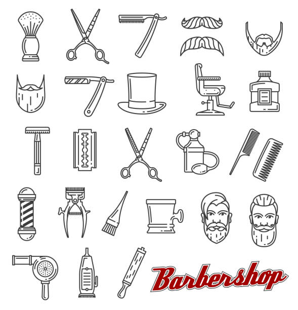 Barber shop salon outline icons monochrome vector Barbershop outline line art icons. Beard and mustache, barber tools shaving razor or scissors, hairbrush and hair dryer. Vector of male beauty salon, hairdresser and coiffeur or haircutter service blade stock illustrations