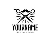 Barber shop, scissors and mustache, retro and vintage style, design. Hair salon and fashion, vector design and illustration