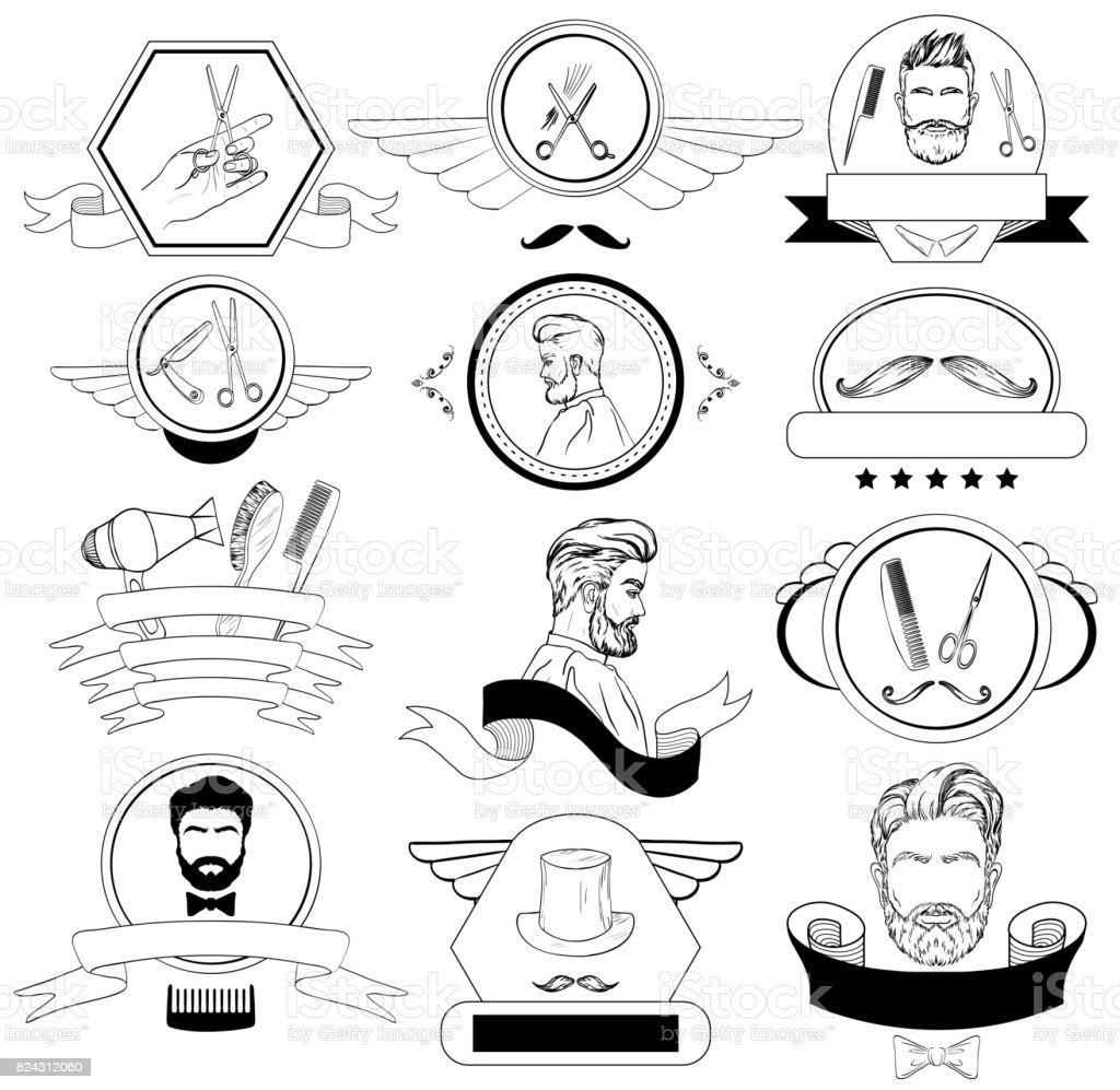 Barber Shop Set For icons, Labels, Badges vector art illustration