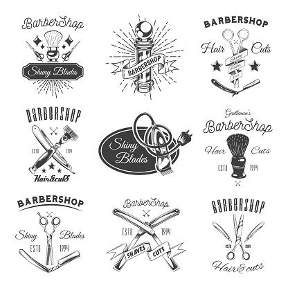Barber Shop Shiny Blades Promotional Emblems Set