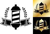 Barber Shop small business store badge. This royalty free vector illustration has Barber shop emblem and logo elements. The badge is black and white in color and also has two more alternate versions in black and gold. The gold texture is shiny and has a gradient. This image is perfect for use in print, online and on mobile devices. Image is elegant and effective! Make your barber shop stand out with this professional and well-designed graphic.