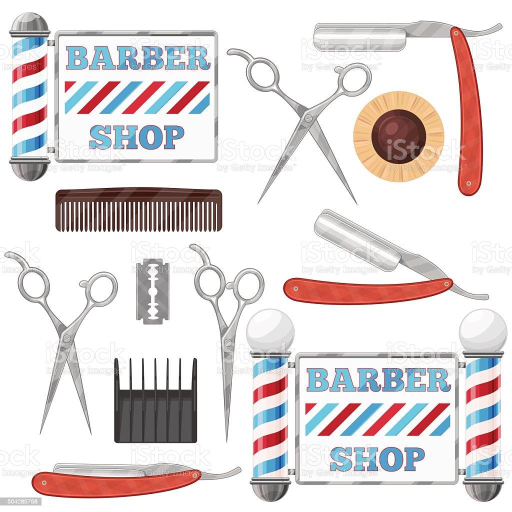 Barber shop tools vector art illustration