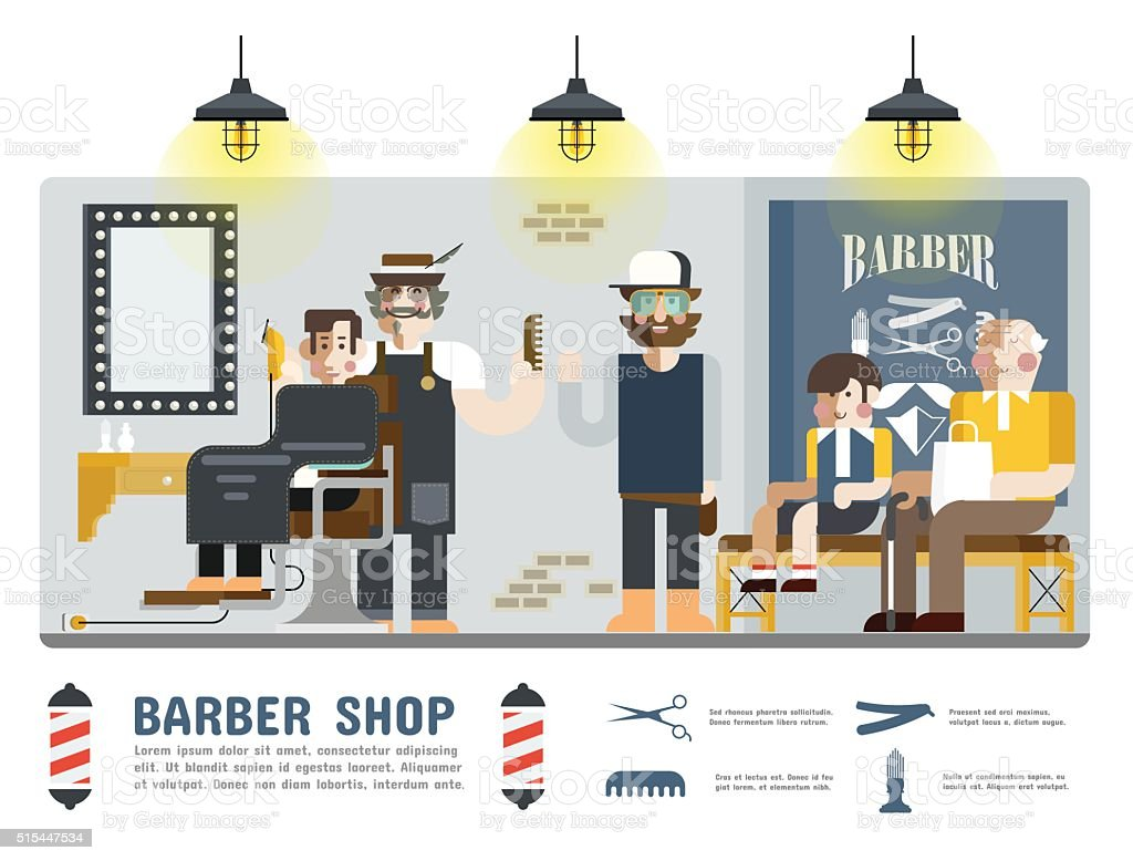 Barber Shop vector art illustration