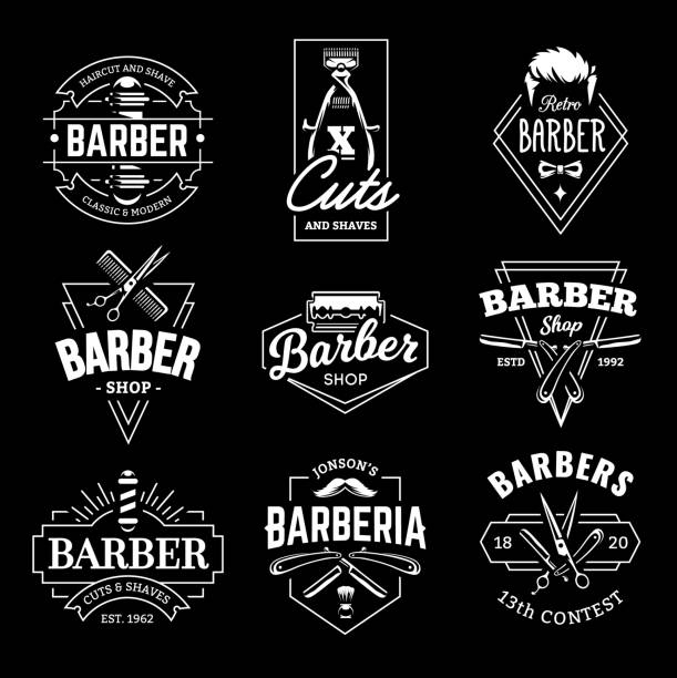 Barber Shop Vector Retro Emblems vector art illustration