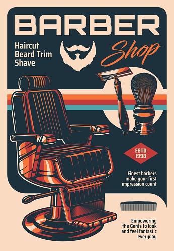 Barber shop vector vintage advertising poster