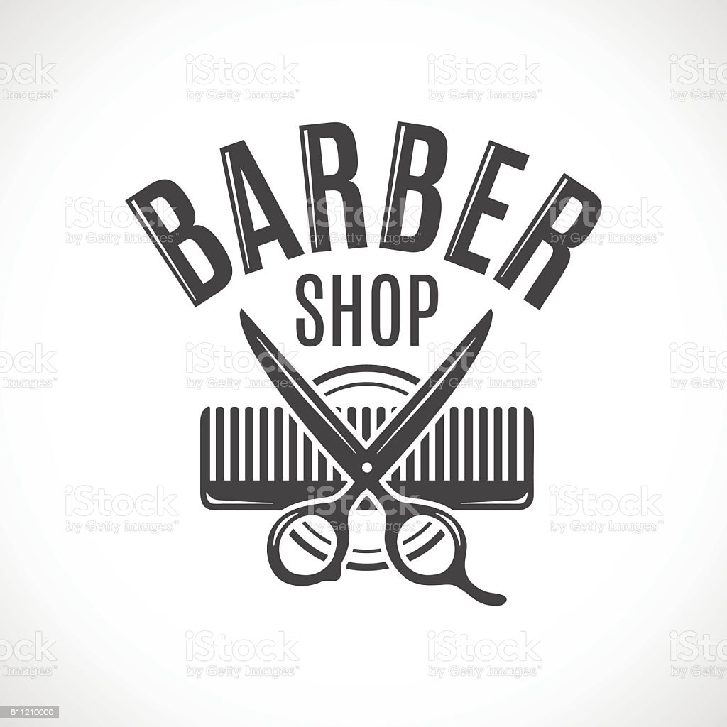 Barber shop vector vintage logo, label, badge or emblem vector art illustration