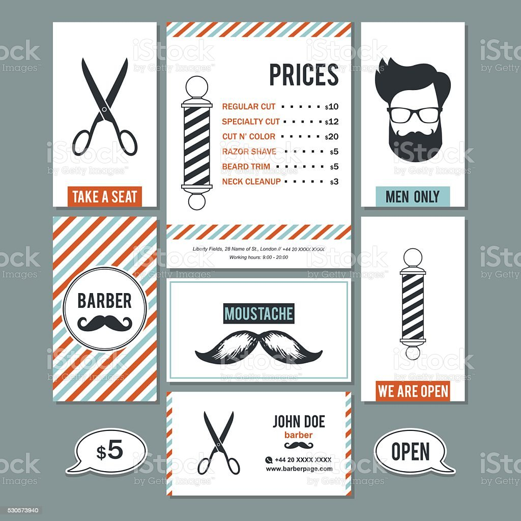 Barber Shop Vintage Business Cards And Services Prices Set Stock ...