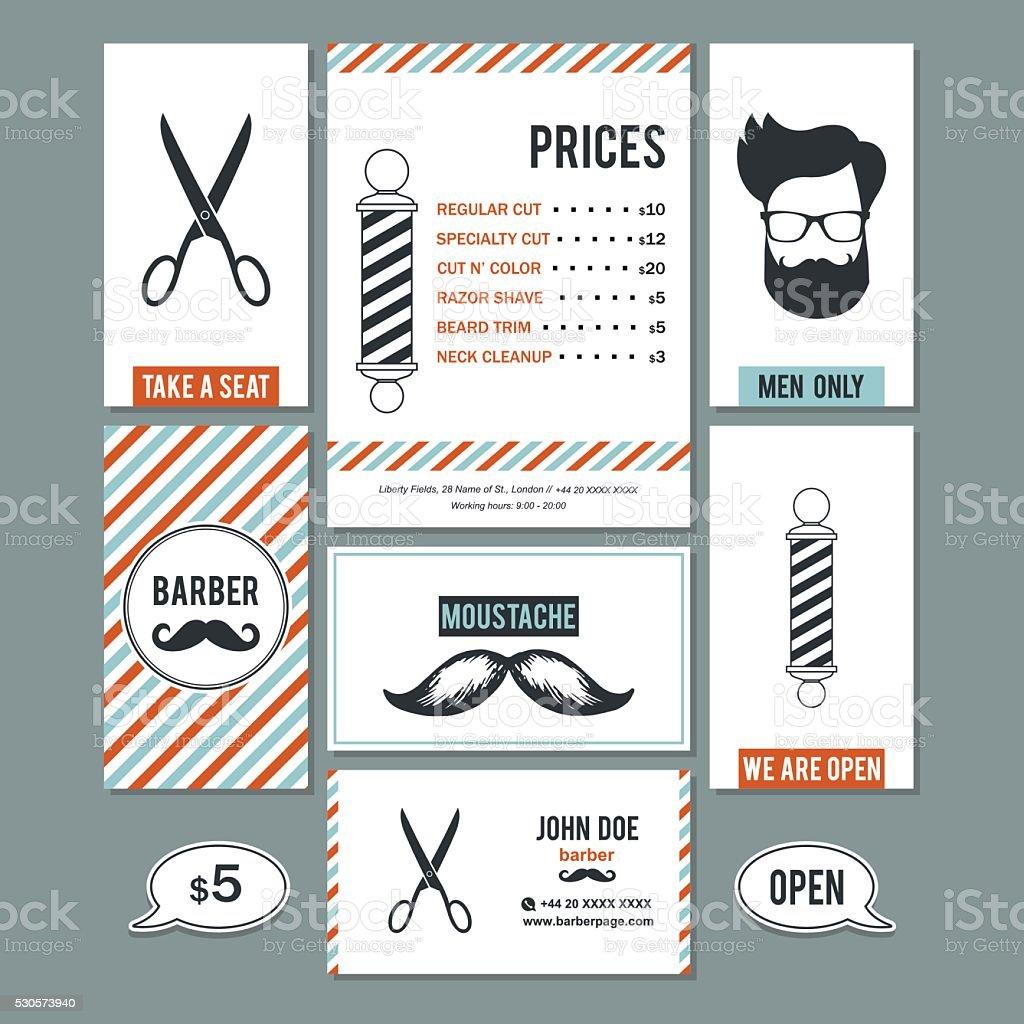 Peluquería tienda Vintage tarjetas de visita y los servicios de los precios establecidos. - ilustración de arte vectorial