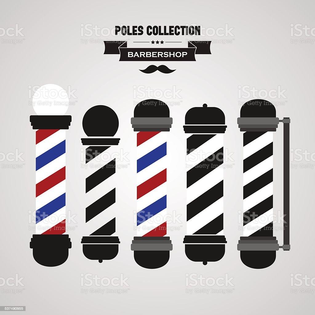 Barber shop vintage pole icons set vector art illustration