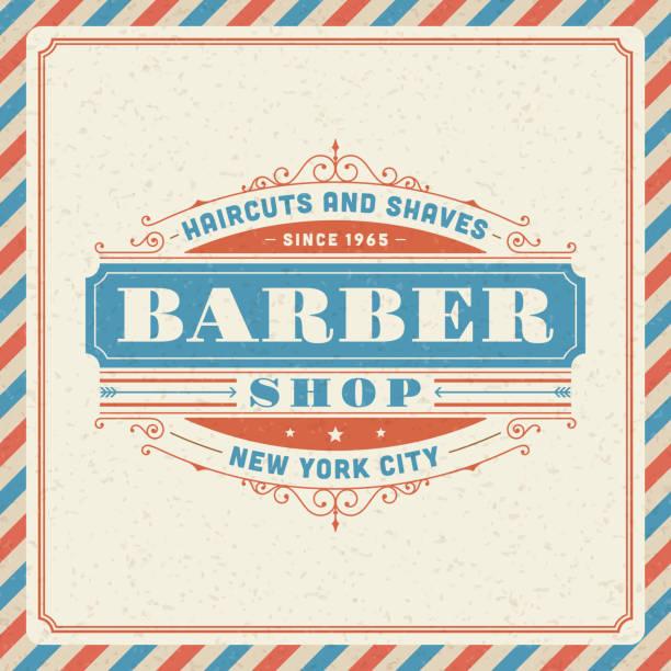 Barber shop vintage retro vector art illustration