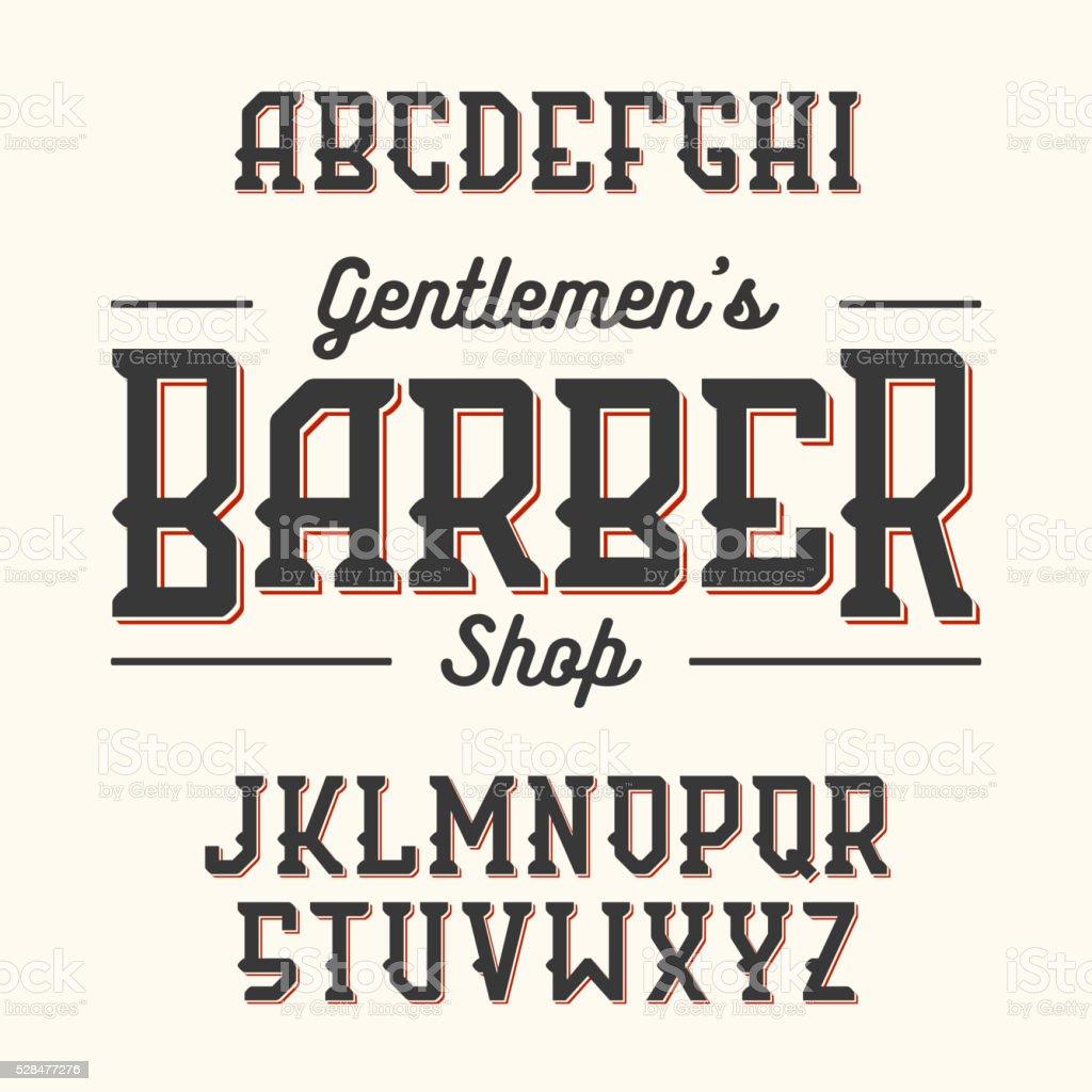 Barber Shop vintage style font vector art illustration