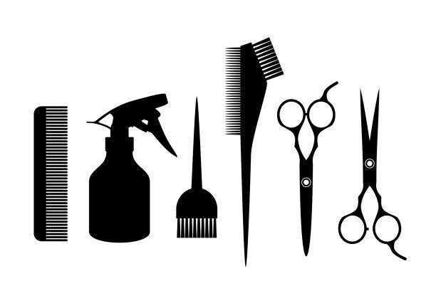 Barber supplies. Silhouette hairdressing tools. Hair salon concept. scissors stock illustrations